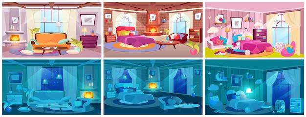 Overdag en 's nachts huisinterieurs bekijken platte illustraties set
