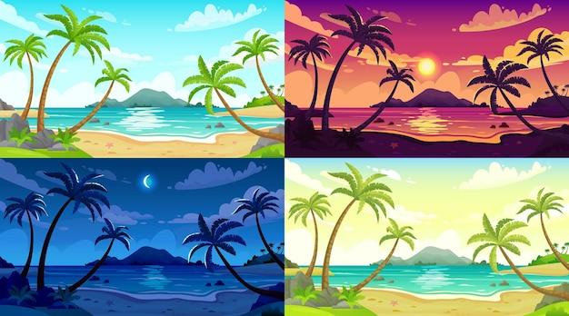 Overdag strandlandschap. zonnige dag zeegezicht, nacht oceaan en zonsondergang strand cartoon illustratie set.