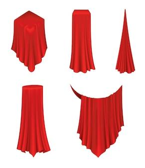 Overdekte objecten. rode zijden stoffen gordijnhoes. revealer doek realistische gordijnen voor tentoonstelling met een verborgen object. verzameling van geïsoleerde objecten binnen gedrapeerde doek op witte achtergrond