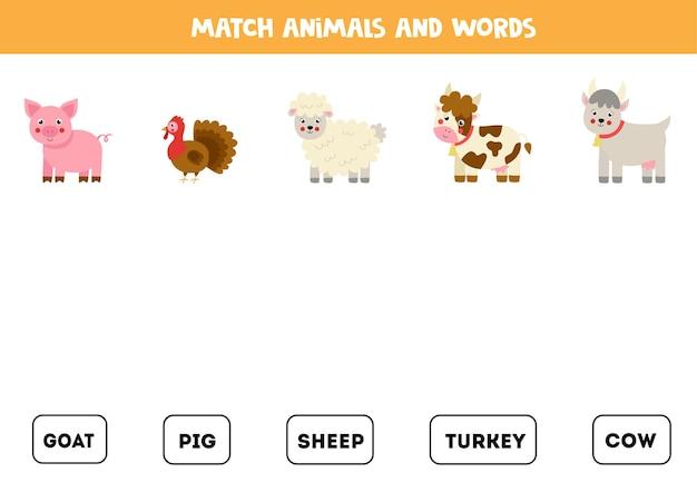 Overeenkomen met boerderijdieren en de woorden. educatief logisch spel voor kinderen.