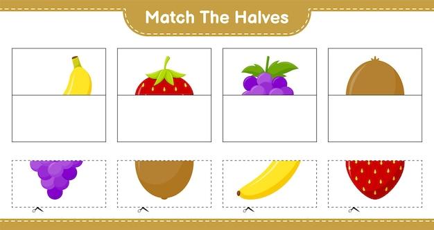 Overeenkomen met de helften. combineer helften van fruit. educatief kinderspel, afdrukbaar werkblad