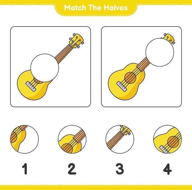 Overeenkomen met de helften. match de helften van de ukelele. educatief spel voor kinderen, afdrukbaar werkblad