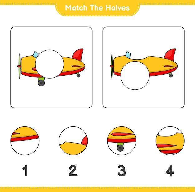 Overeenkomen met de helften overeenkomen met de helften van het vliegtuig educatief werkblad voor kinderen om af te drukken