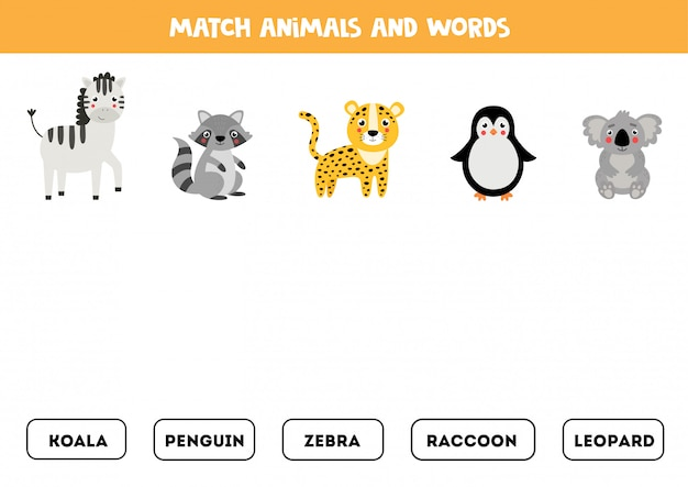 Overeenkomen met dier en woord. engels grammaticaspel voor kinderen.