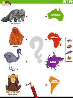 Overeenkomen met educatieve soorten diersoorten en continenten