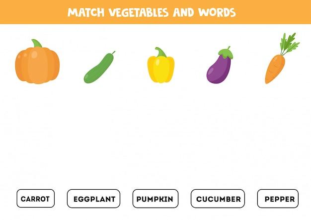 Overeenkomen met groenten en de woorden. grammatica-spel voor kinderen.