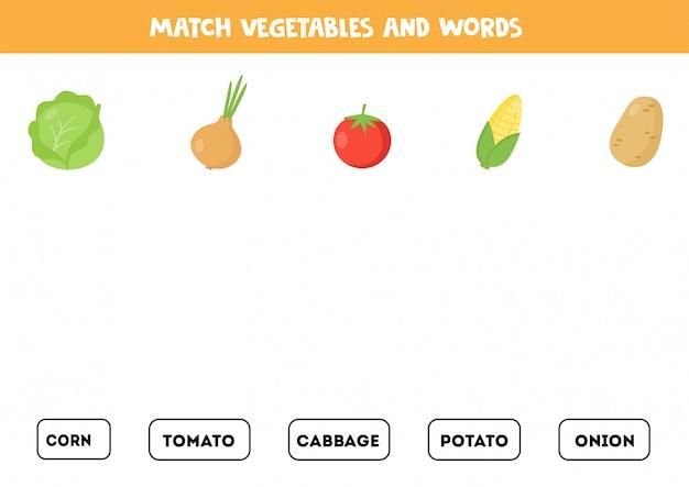 Overeenkomen met groenten en woorden. lees de woorden en match afbeeldingen.