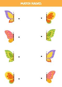 Overeenkomen met helften van cartoon kleurrijke vlinders. logisch spel voor kinderen.