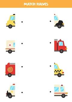 Overeenkomen met helften van cartoon transportmiddelen. logisch spel voor kinderen.