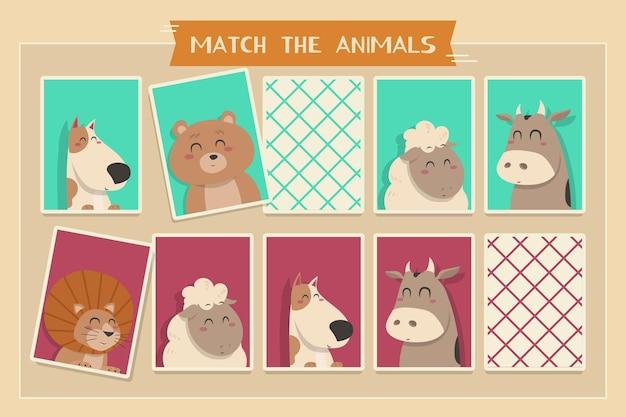 Overeenkomen met het dierenspel voor kinderen