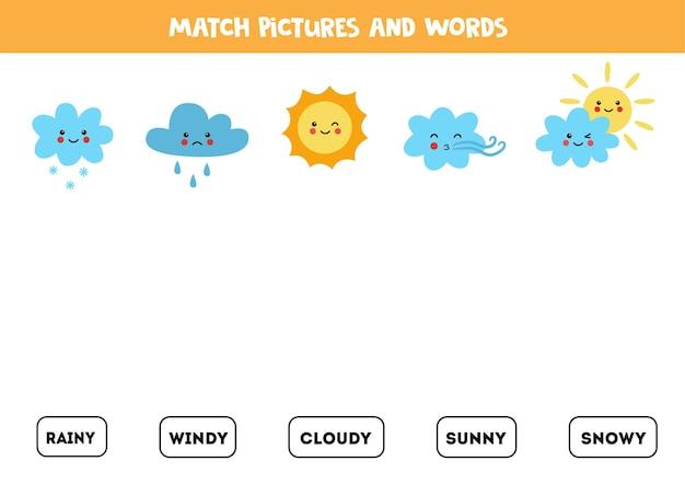 Overeenkomen met het weerfenomeen en de woorden. educatief logisch spel voor kinderen.