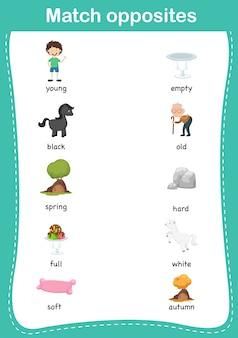 Overeenkomend educatief spel voor kinderen. match van tegenstellingen. vector illustratie