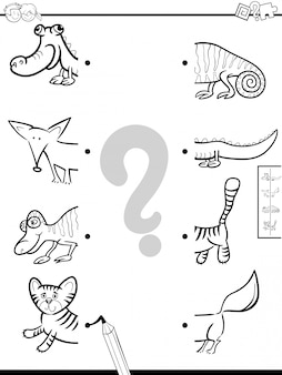 Overeenkomende game met dieren met kleurenboek