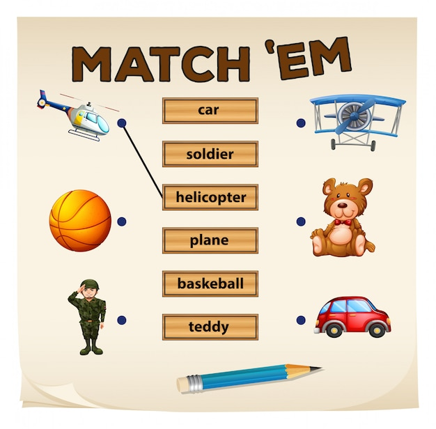 Overeenkomende spelobjecten en woorden