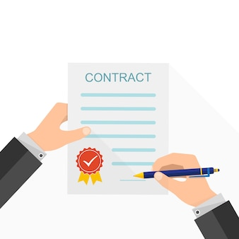 Overeenkomst concept - handtekening van papier contract geïsoleerd op wit