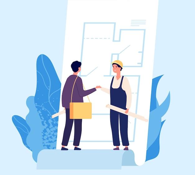 Overeenkomst concept. vector architect en bouwer schudden elkaar de hand. illustratie van ontwerp- en bouwcontract