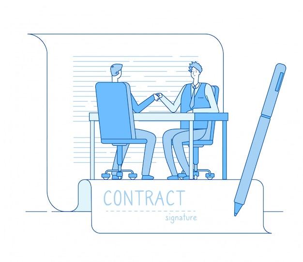 Overeenkomst contract. zakelijk partnerschap zakenlieden investeerders handenschudden. financiën relatie investering samenwerking concept