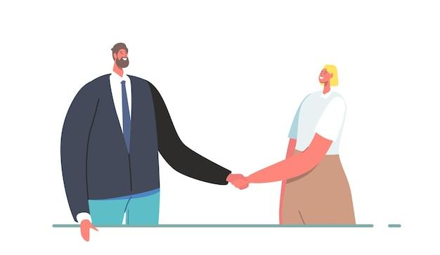 Overeenkomst voor zakenpartners, gendergelijkheid, partnerschapsconcept voor deals