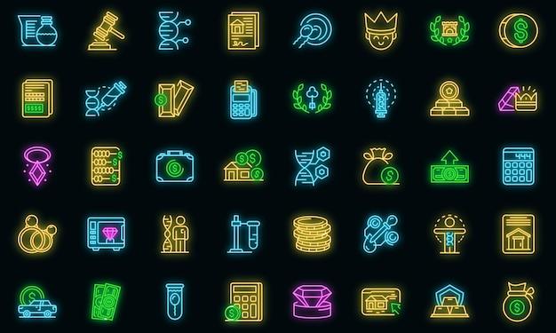 Overerving pictogrammen instellen. overzicht set van erfenis vector iconen neon kleur op zwart