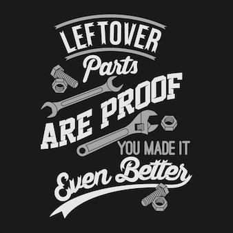 Overgebleven onderdelen zijn het bewijs dat je het nog beter hebt gemaakt.