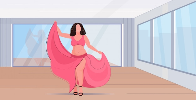 Overgewicht lichaam positief meisje danser glimlachende vrouw dansen in jurk over grootte vrouwelijke cartoon karakter moderne dans studio interieur horizontale volledige lengte