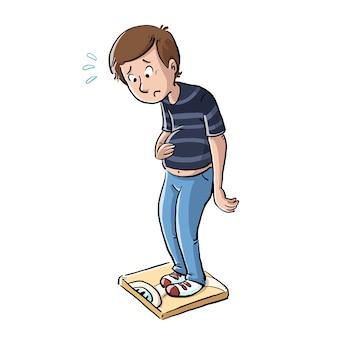 Overgewicht man op een schaal