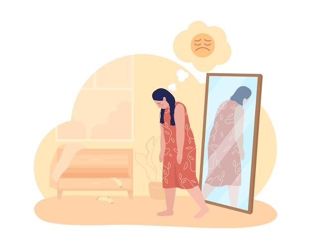 Overgewicht verdrietig tienermeisje 2d vector geïsoleerde illustratie