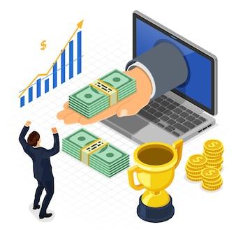 Overhandigen van laptop met geld. internetinkomen, onilne-inkomsten, inkomen uit gokconcept. isometrische pictogrammen gelukkig man. geïsoleerd