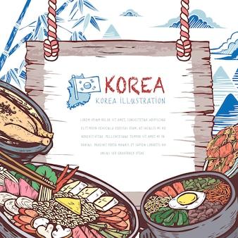 Overheerlijk koreaans eten in handgetekende stijl