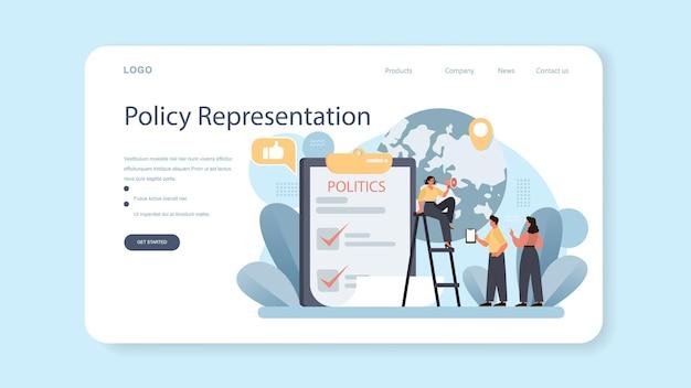 Overheid pr webbanner of bestemmingspagina politieke partij