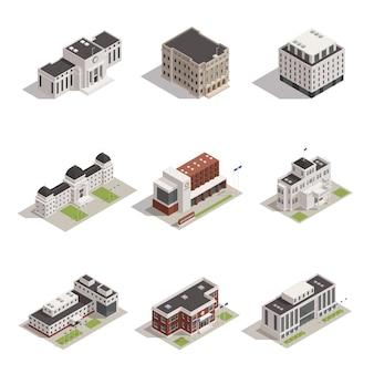 Overheidsgebouwen isometrische icons set