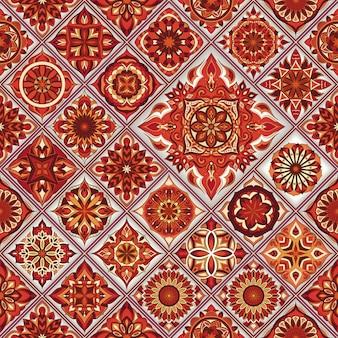 Overladen bloemen naadloos patroon met uitstekende mandala