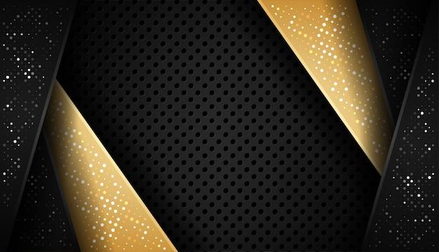 Overlap vorm abstracte goud zwart frame lay-out ontwerptechnologie met glitters en lichteffect