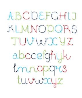 Overlappende kleurrijke afgeronde lijn lettertype dun