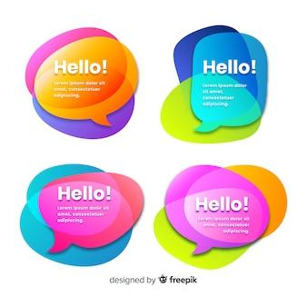 Overlay kleurrijke vormen voor tekstballonnen met hallo! citaat