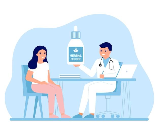 Overleg arts holistische genezing gezondheid van vrouwelijke patiënt in kliniek alternatieve geneeskunde