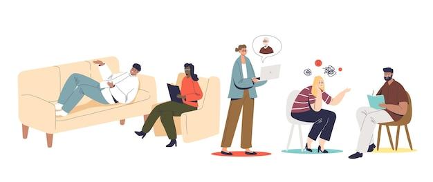 Overleg met psycholoog ingesteld met mensenpatiënten die praten met psychologiespecialisten tijdens bezoek aan kantoor of met videogesprek via laptop. platte vectorillustratie