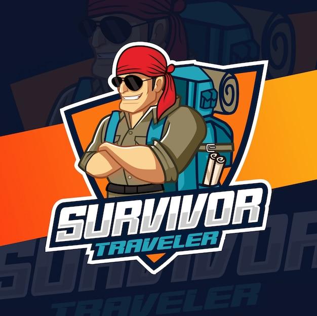 Overlevende man mascotte logo ontwerp