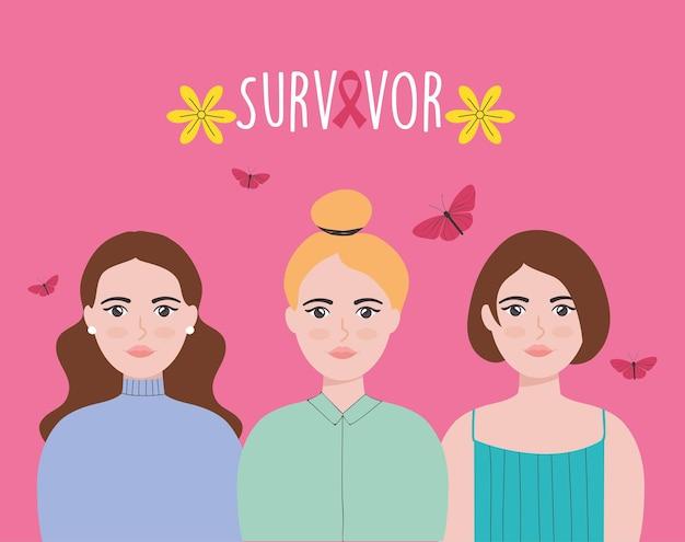 Overlevenden van kanker ontwerpen met vrouwen en vlinders