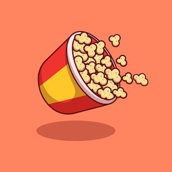 Overlopend en drijvend popcornillustratieontwerp premium geïsoleerd dierlijk ontwerpconcept