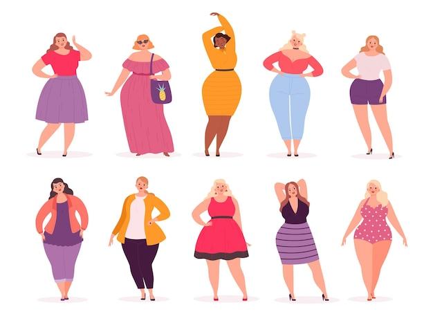 Overmaatse vrouw. volwassen dikke mensen bochtige in casual kleding vector personen stripfiguren