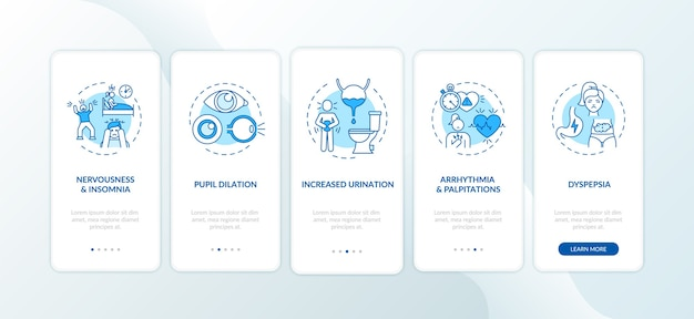 Overmatige inname van cafeïne op het scherm van de mobiele app-pagina met concepten