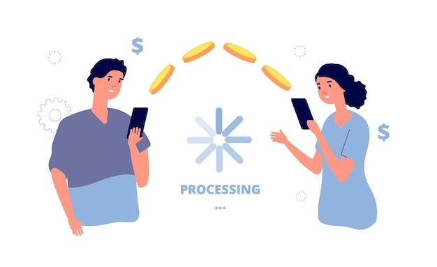 Overschrijving. dienst voor mobiele betalingstransacties. mensen maken geld over van telefoon naar telefoon.