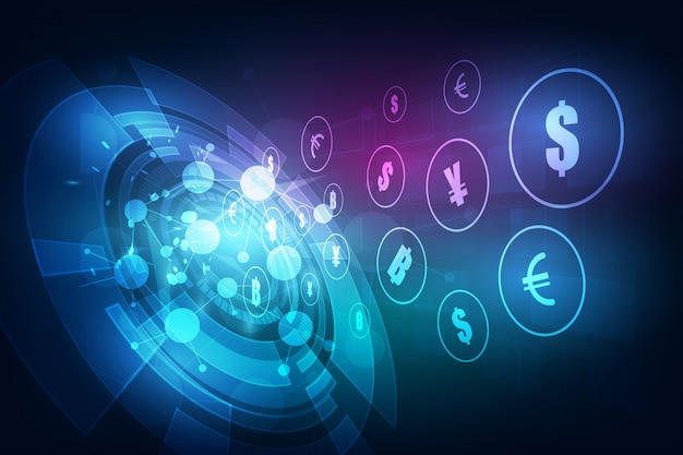 Overschrijving. wereldwijde valuta. beurs. voorraad vectorillustratie