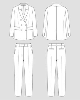 Oversized pak voor dames. mode schets. vlakke technische tekening.