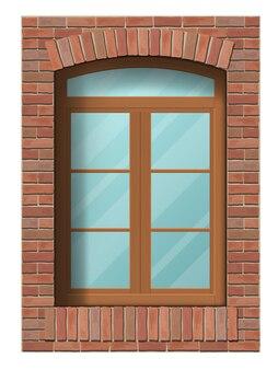 Overspannen klassiek venster in bakstenen muur