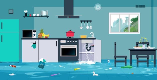 Overstroming in de keuken veroorzaakt door lekkende waterleidingen