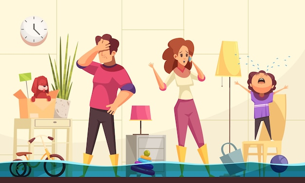 Overstroomd huis nood platte cartoon met familie thuis bellen loodgieter om burst-buizen te repareren