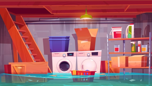Overstroomd wasgoed in kelder waterlekkage in kelder interieur