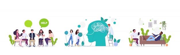 Overstuur mensen bezoeken psycholoog depressie problemen stress psychotherapie sessie